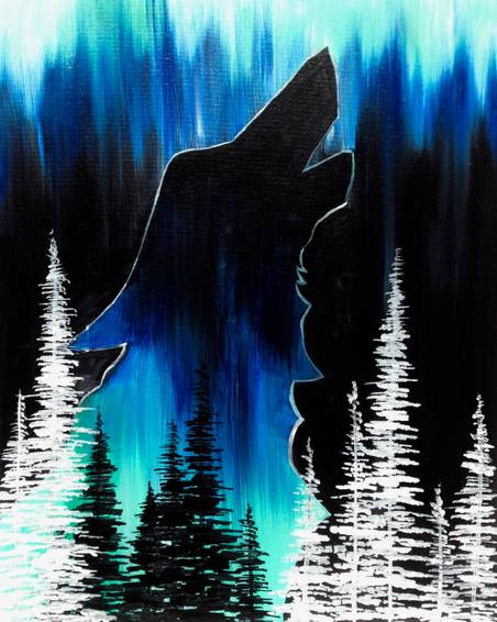 A Wolf in the Pines paint nite project by Yaymaker