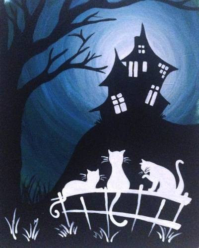 A Cats Midnight Hangout paint nite project by Yaymaker