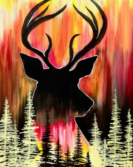 A Deer in the Pines paint nite project by Yaymaker