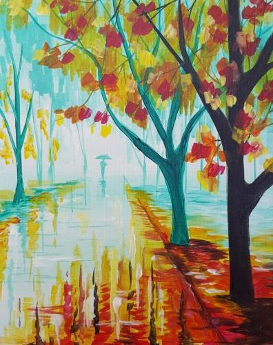 A Rainy Autumn Street paint nite project by Yaymaker