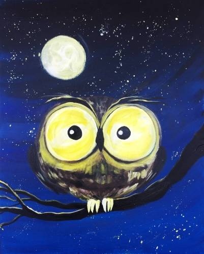 A Too Much Coffee Owl paint nite project by Yaymaker