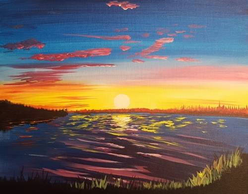 A A Warm Colorful Sunset paint nite project by Yaymaker