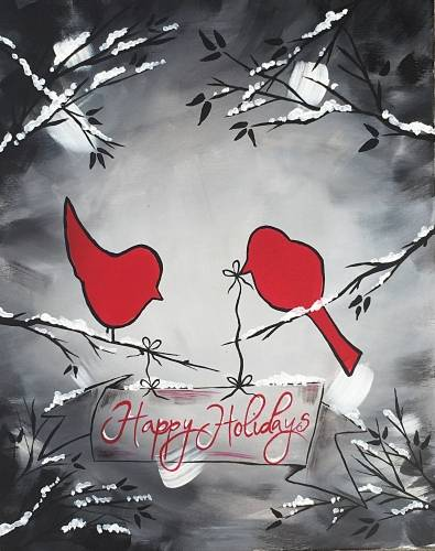 A Happy Holidays paint nite project by Yaymaker
