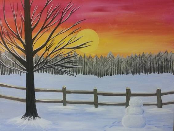 A Snowman Sunset paint nite project by Yaymaker