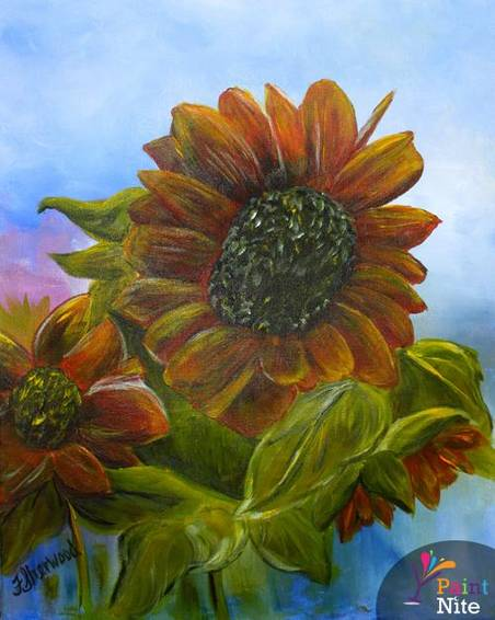 A Sun Flowers paint nite project by Yaymaker