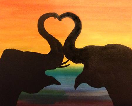 A Elephant Silhouette Love paint nite project by Yaymaker