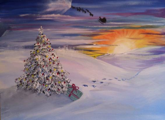 A Santas Last Stop paint nite project by Yaymaker