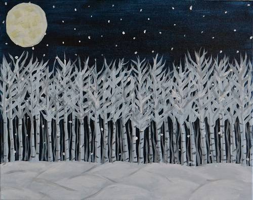 A Snowy Birch Trees paint nite project by Yaymaker