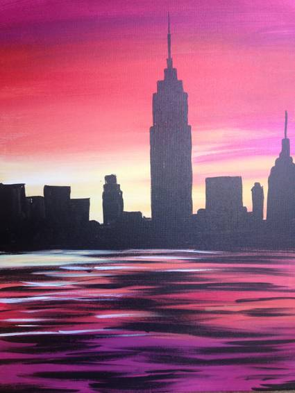 A NYC sunset paint nite project by Yaymaker