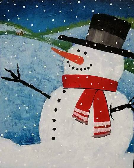 A Snowman paint nite project by Yaymaker