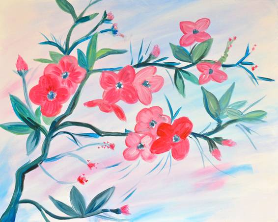 A Red Blossoms paint nite project by Yaymaker