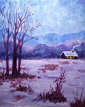 A Cabin in Winter paint nite project by Yaymaker