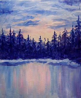 A Pine Trees on Frozen Lake paint nite project by Yaymaker