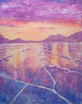 A Frozen Lake paint nite project by Yaymaker