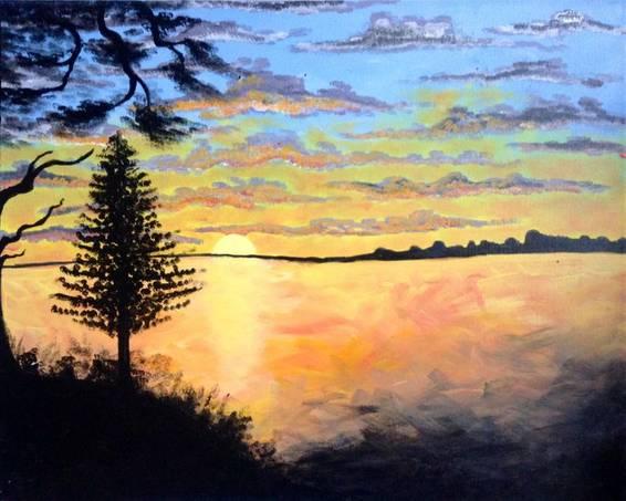 A Muskoka Sunset paint nite project by Yaymaker