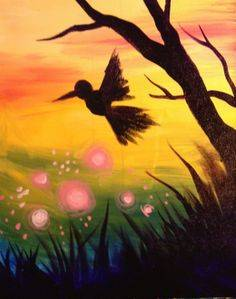 A Humming Bird Taking Flight paint nite project by Yaymaker