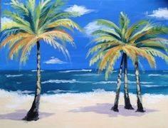 A Sandy Beach Palms paint nite project by Yaymaker