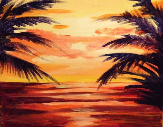 A Blazing Sunset paint nite project by Yaymaker