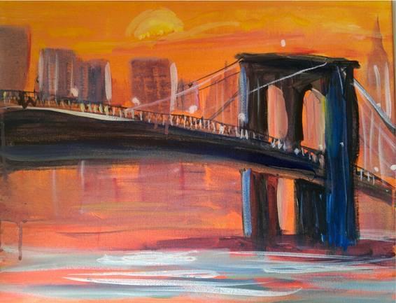 A Amber Glow Brooklyn Bridge paint nite project by Yaymaker