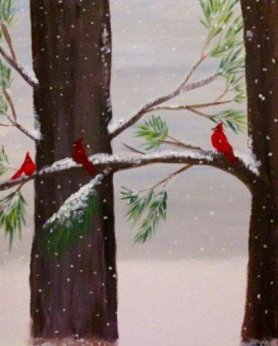 A Winter Cardinals paint nite project by Yaymaker