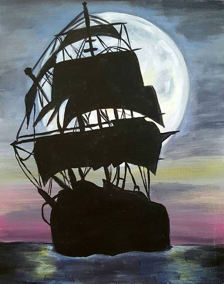 A Pirate Ship Moonilght paint nite project by Yaymaker