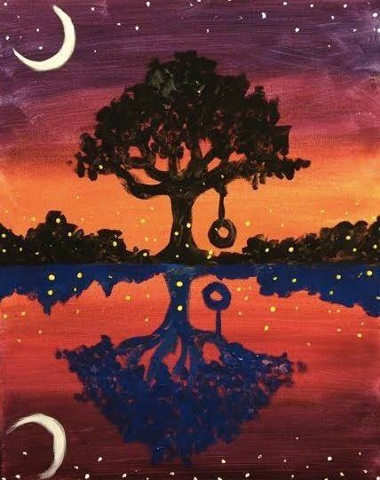 A Fireflies Sunset paint nite project by Yaymaker