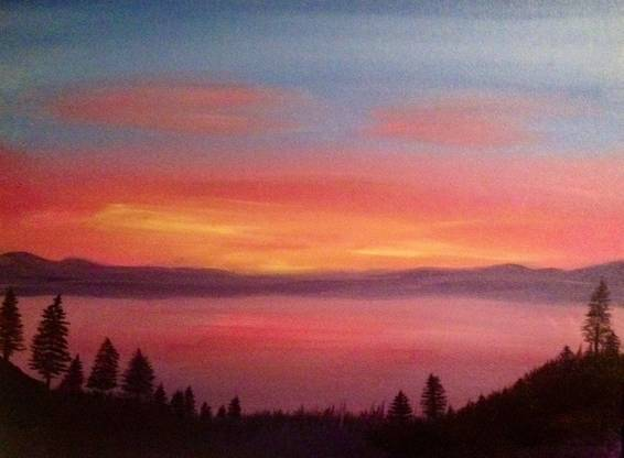 A Sunset by the Lake paint nite project by Yaymaker