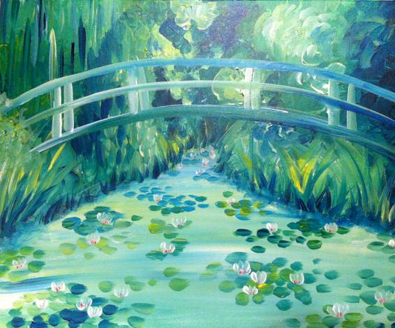 A Monets Acrylic Waterlilies paint nite project by Yaymaker