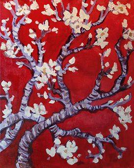 A Van Gogh Blossoms paint nite project by Yaymaker