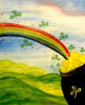A St Patricks Day Pot OGold paint nite project by Yaymaker