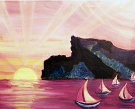 A Sunset Sails paint nite project by Yaymaker