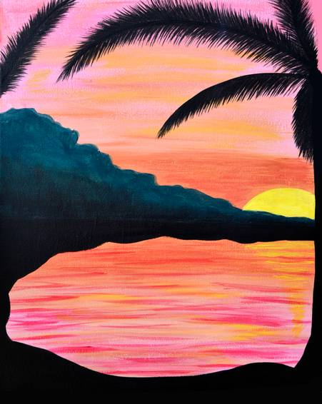 A Paradise Sunset paint nite project by Yaymaker