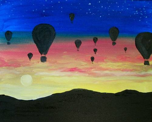 A Balloons at Sunset paint nite project by Yaymaker