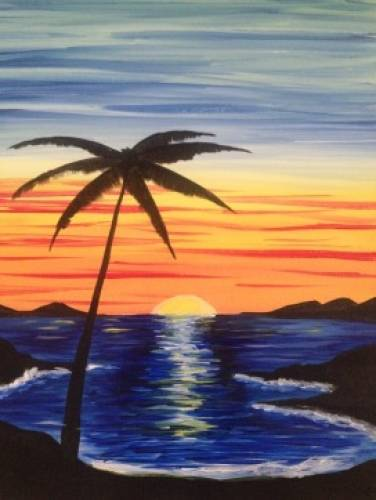 A Coconut Sea Breeze paint nite project by Yaymaker
