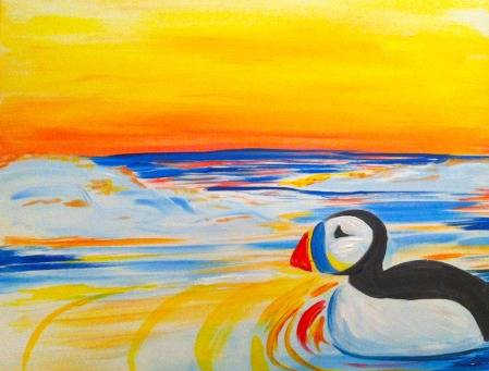 A Arctic Puffin paint nite project by Yaymaker