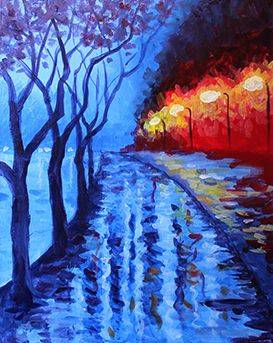 A Rainy Street paint nite project by Yaymaker
