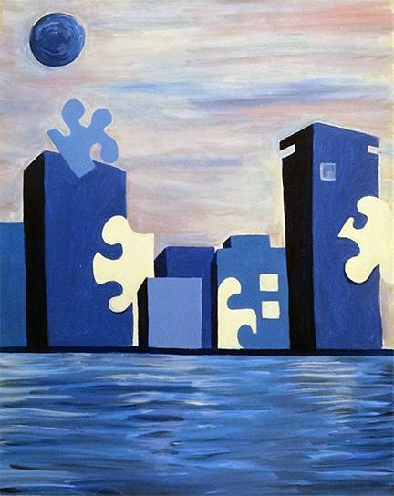 A Light It Up Blue For Autism Awareness paint nite project by Yaymaker