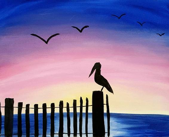 A Fence Bird paint nite project by Yaymaker