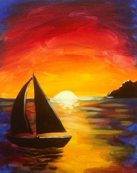 A Sunset Sail Boat paint nite project by Yaymaker