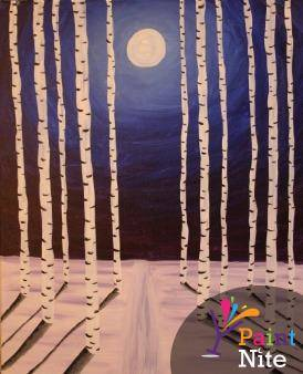 A Moonlit Path paint nite project by Yaymaker