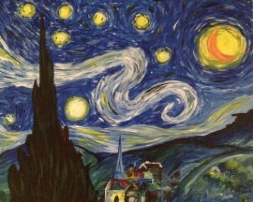A Wicked Starry Night paint nite project by Yaymaker