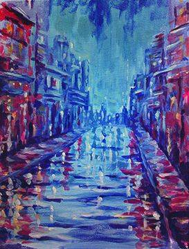 A Rainy City paint nite project by Yaymaker