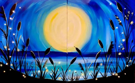 A Beach Moonlight Partner Painting Includes LED Fairy Lights experience project by Yaymaker