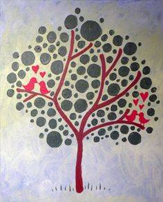 A Love Birds in a Tree paint nite project by Yaymaker