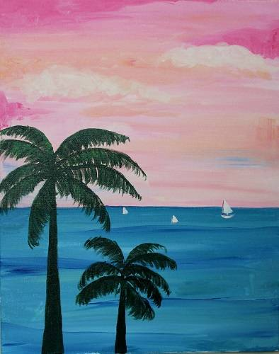 A Palm Trees Candy Sky paint nite project by Yaymaker