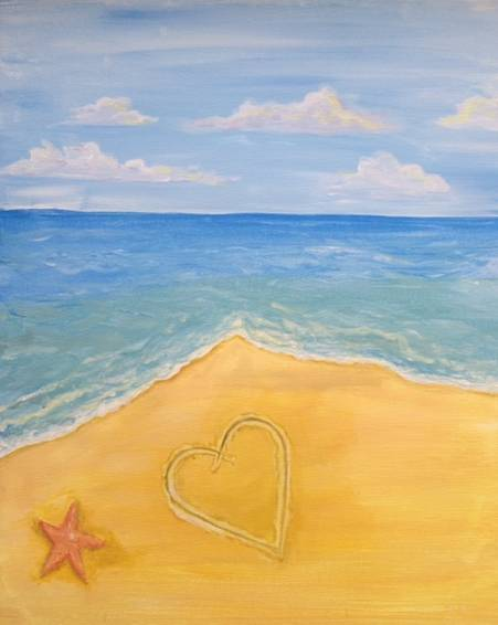 A Beach Love paint nite project by Yaymaker
