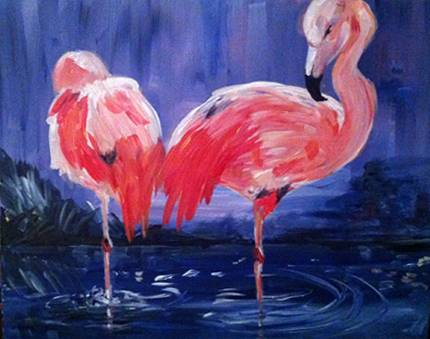 A Flamingo Pair paint nite project by Yaymaker