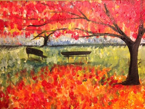 A Autumn Park paint nite project by Yaymaker
