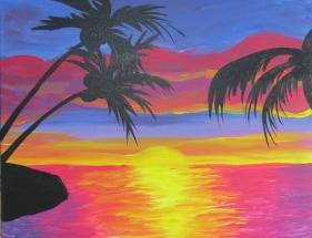 A Tropical Sunrise paint nite project by Yaymaker