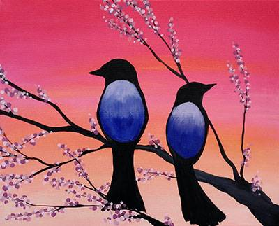 A Birds in Bloom paint nite project by Yaymaker
